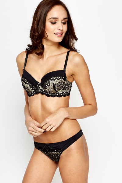 Black Contrast Lace Overlay Bra And Thong Set