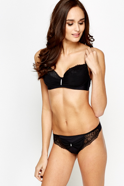 Diamante Trim Bra And Thong Set