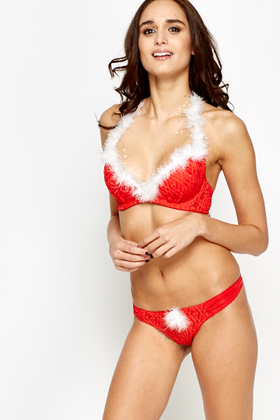 Faux Fur Trim Bra And Thong Set