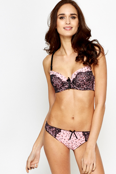Floral Lace Overlay Bra And Brief Set