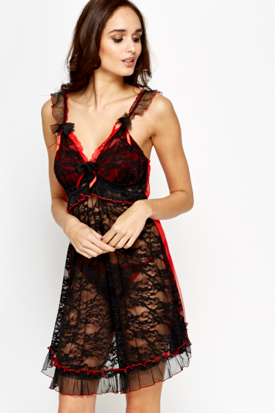 Frill Strap Lace Chemise And Thong Set