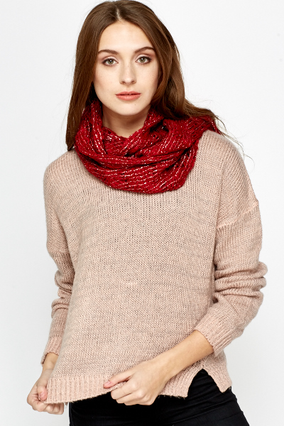 Metallic Loose Knit Layered Scarf