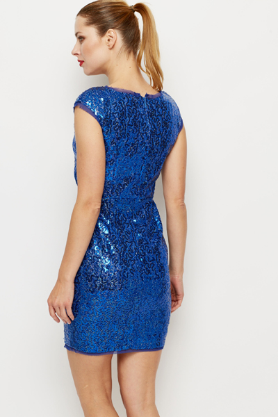 Pleat Front Sequin Bodycon Dress