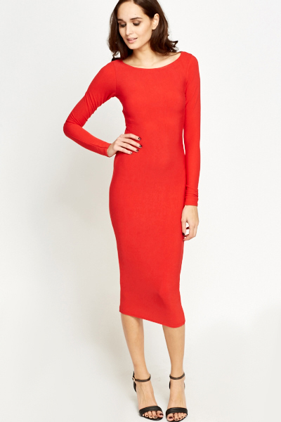Ribbed Red Long Bodycon Dress