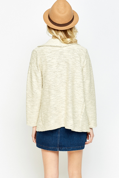 Beige Speckled Metallic Open Cardigan