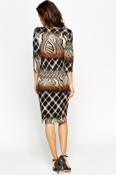 Black Multi Print Bodycon Dress