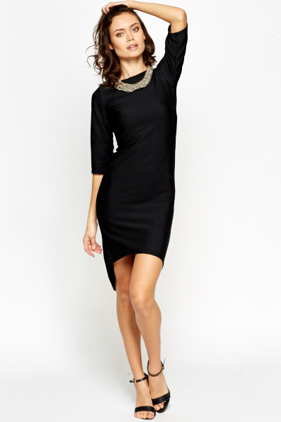 Black Ribbed Dipped Hem Dress