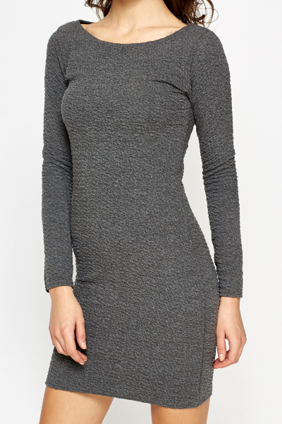 Charcoal Jacquard Bodycon Dress