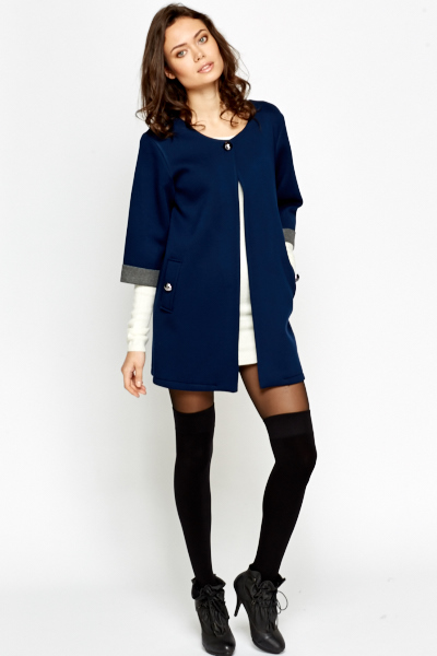 Contrast Neck Duster Jacket