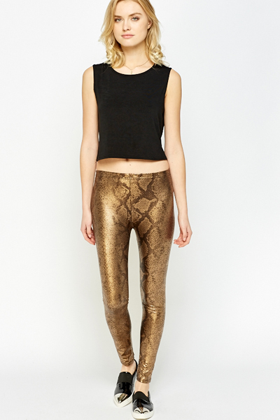 Gold Metallic Mock Croc Leggings