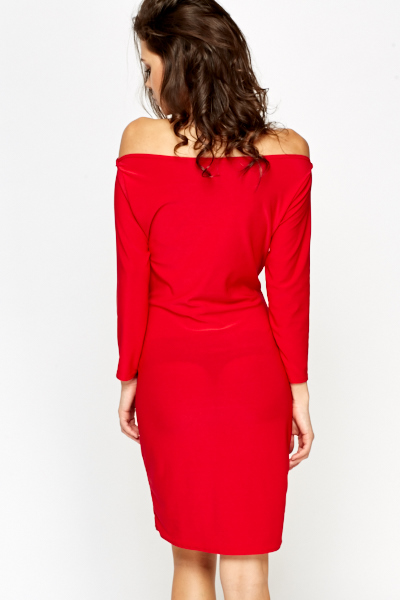 Red Bardot Bodycon Dress
