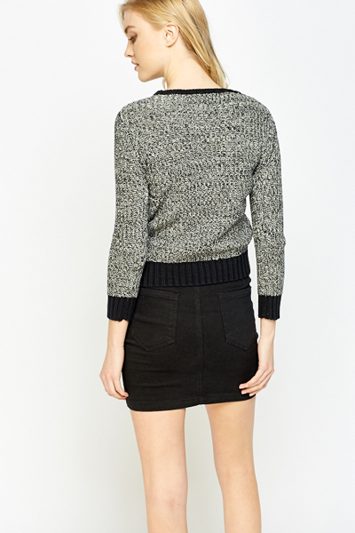 Ribbed Round Neck Speckled Jumper