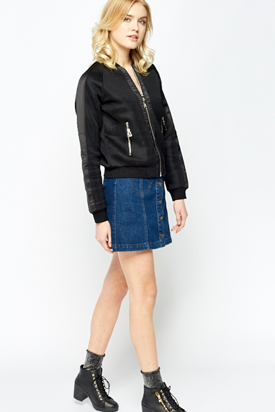 Textured Front Zip Bomber Jacket