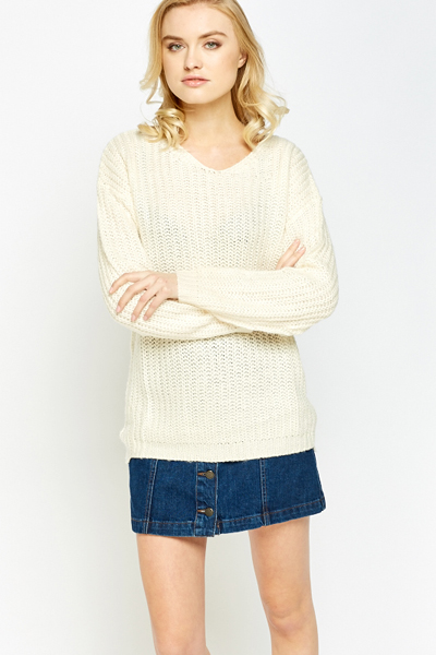 V-Neck Knitted Jumper