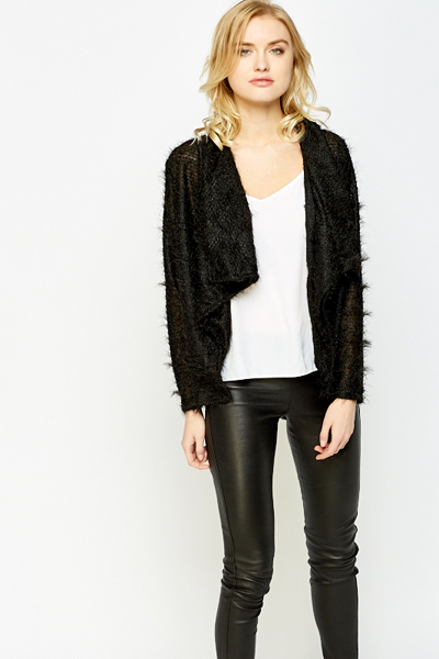 Black Waterfall Eyelash Knit Cardigan