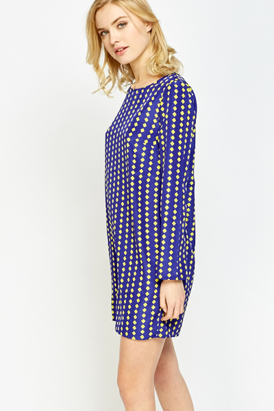 Blue Printed Shift Dress