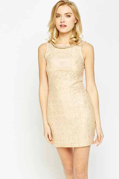 Chain Embellished Neck Bodycon Dress
