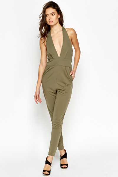 Halterneck Tapered Leg Jumpsuit