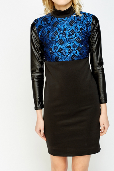 High Neck Metallic Panel Bodycon Dress