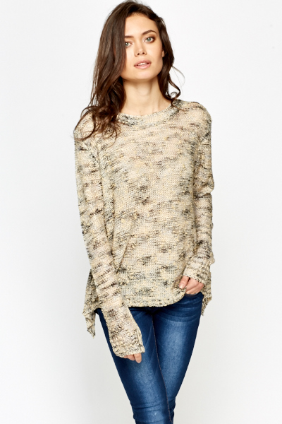Knit Contrast Metallic Top