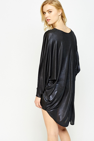 Metallic Oversize Batwing Sleeve Dress