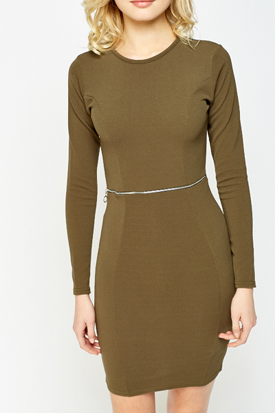 Olive Zip Front Bodycon Dress