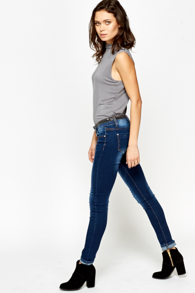 Sequin Embellished Wash Out Jeans