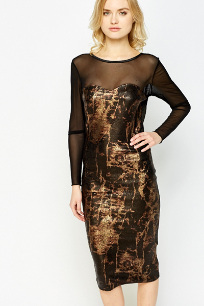 Sheer Yoke Metallic Pattern Dress