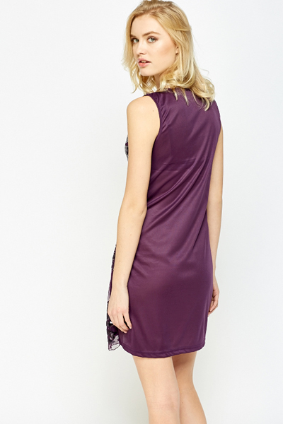 Sleeveless Glitter Front Dress