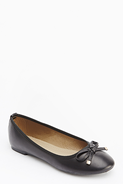 Black Faux Leather Flats