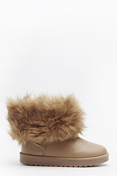Detachable Faux Fur Trim Boot