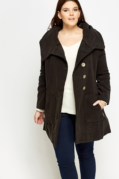 Hooded Thick Button Up Jacket