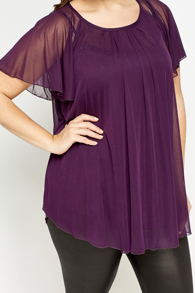 Purple Flare Batwing Sleeve Top