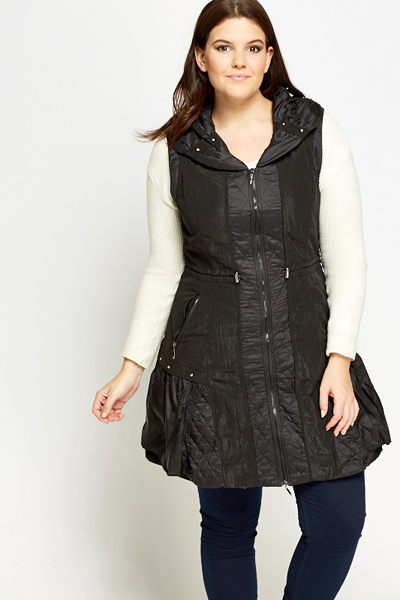 Sleeveless Padded A-Line Jacket