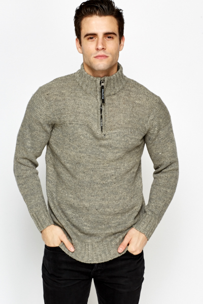 Speckled Zip High Neck Jumper