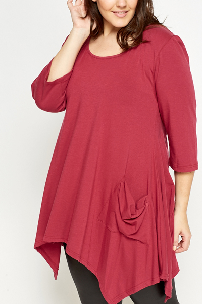 Wine Asymmetric Pocket Tunic