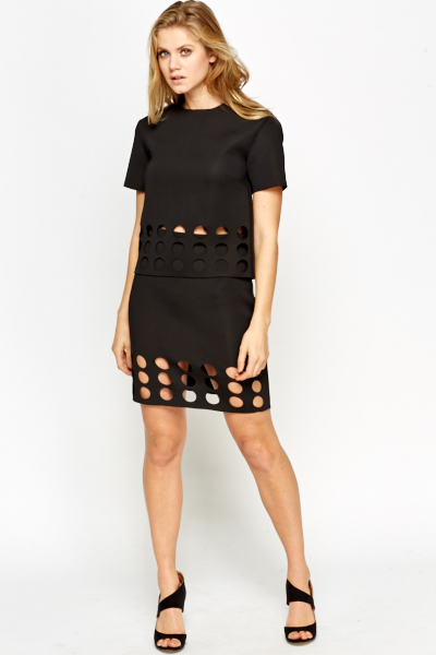Image of Black High Waisted Laser Cut Skirt