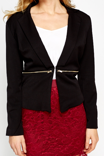 Black Zip Detail Blazer