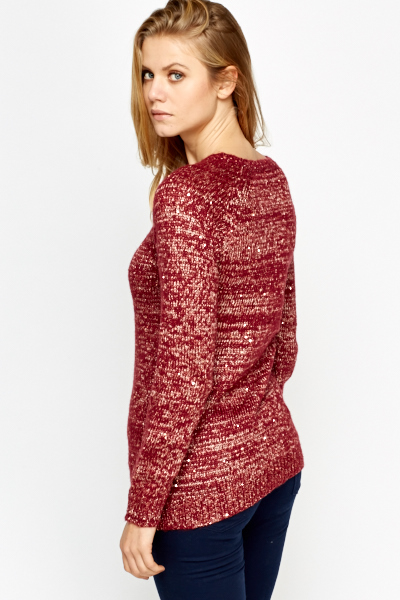 Burgundy Metallic Sequin Jumper