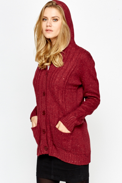 Burgundy Speckled Hooded Cardigan