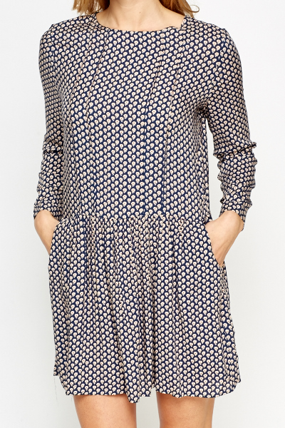 Daisy Print Navy Skater Dress