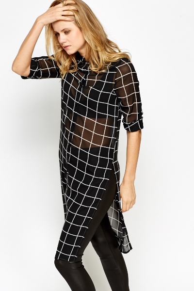 Grid Check Longline Blouse