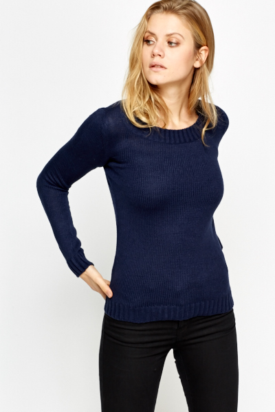 Knitted Ribbed Casual Jumper