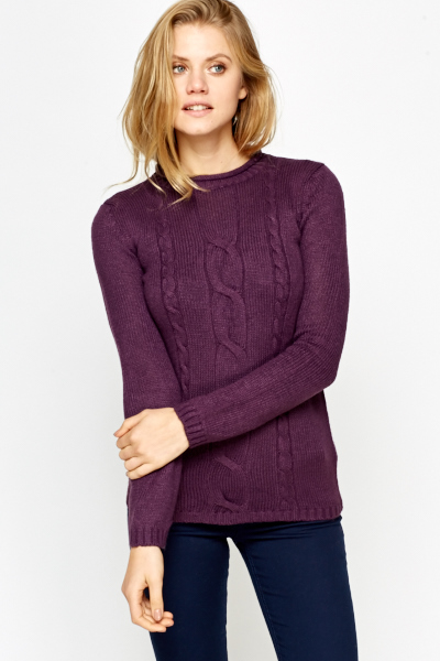 Plait Knitted Ribbed Jumper