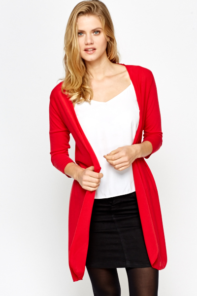Red Light Weight Open Cardigan