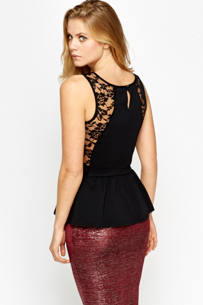 Sleeveless Black Lace Peplum Top