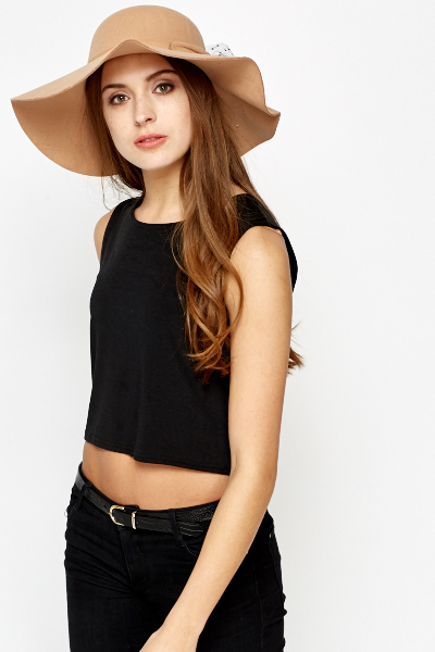 Woven Lace Trim Floppy Hat