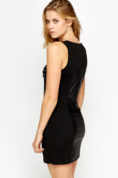 Zip Front Studded Bodycon Dress