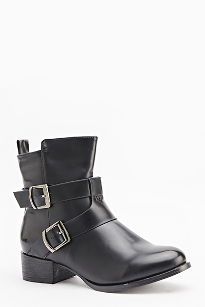 Faux Leather Twin Buckle Boots