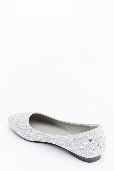 Metallic Diamante Pointed Flats